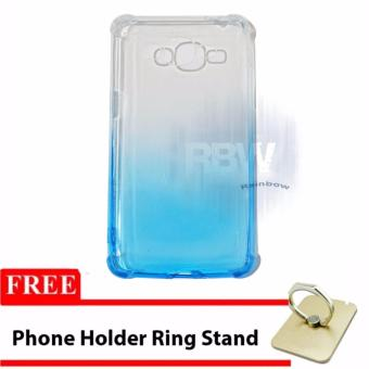 Rainbow Case Anti Crack Gradasi Samsung Galaxy J2 Prime / JellySoft Case Samsung J2 Prime + FREE Phone Holder Ring / SoftshellUltrathin Gradasi / Casing Samsung / Case HP Unik - Biru