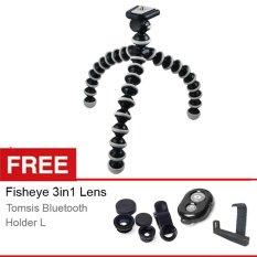 Rajawali Flexible Tripod / Gorilla Pod free Fisheye 3in1 Lens + Tomsis Bluetooth + Holder L