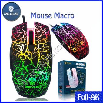 Rexus TX8 Macro Gaming Mouse 6D USB with Rainbow LED - Hitam