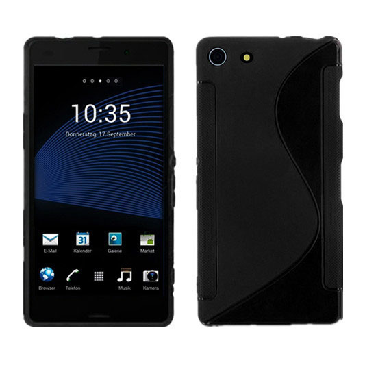 S - untuk kasus kulit silikon baris TPU Sony Xperia Z3 Mini kompak (Hitam)