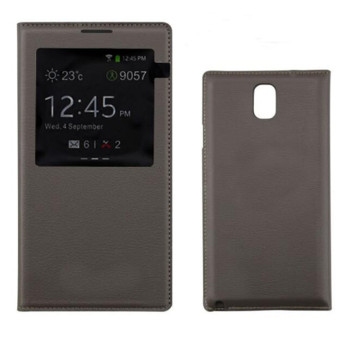S View Window PU Leather Case Flip Cover for Samsung Galaxy Note 3N900 N9000 N9005 (Brown) - intl
