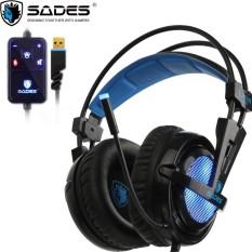 Sades Headset Gaming Locust SA-704 - USB 2.0 Soundcard and Microphone Biru