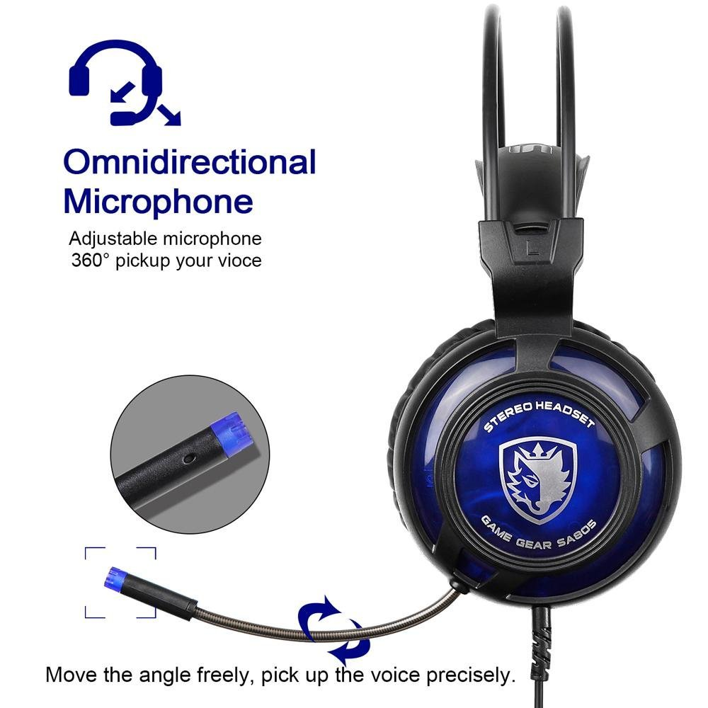 Terbaik Murah Sades Sa 805 35mm Gaming Headsets With Microphone 708 Headset Headphone Stereo Sound Blue Noise Cancellation Music Headphones Black