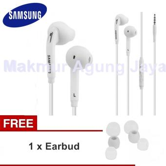 Samsung Galaxy S6 Edge Original Headset Compotibel S3 /S4 / S5 / S6 Edge - Note 2 / 3 / 4 Headset - White + free earbus