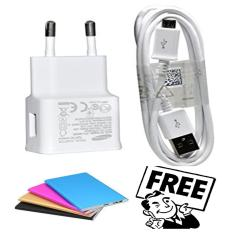 Samsung Original 100% Authentic Travel Adapter Charger / Casan / Carger 15W Adaptive Fast Charging Output 2.0Ampere USB 3.0 for Samsung Galaxy S4 / S5 / S6 / S7 / Edge / Note 4 / Note 5 - Putih + Free Power Bank dan Kabel USB Charger