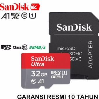 SanDisk Ultra MicroSDHC 98MB/s 32GB Class 10 UHS-1 With Micro SDHC - SD Card Adapter - Red-Grey