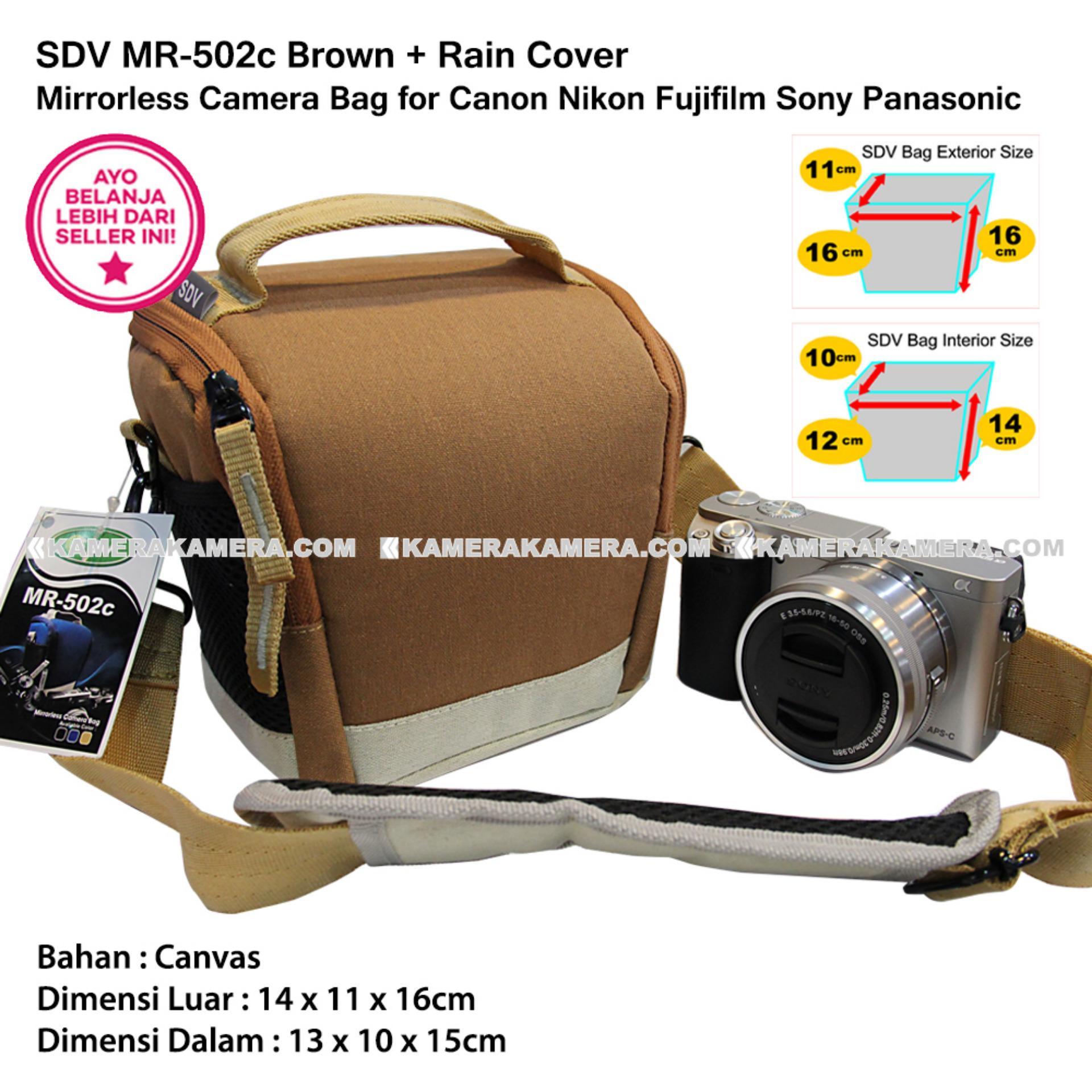 SDV MR-502c Brown Canvas Bag with Rain Cover Tas Kamera Mirrorless Canon Nikon Sony