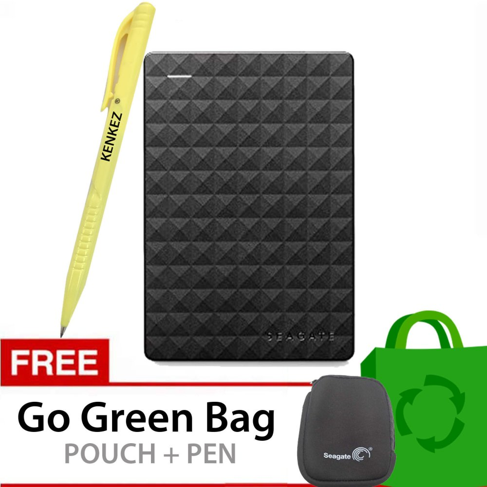 Seagate Expansion New 2.5 Inch USB 3.0 2TB - Hitam + Gratis Go Green Bag + Pouch + Pen