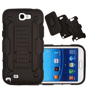 Shockproof Heavy Duty Protection Hybrid Full Body Rugged Case Rubber Dual Layer Holster Cover for Samsung Galaxy Note 2 N7100 with Kickstand - intl