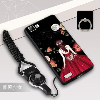 Silica Gel Soft Phone Case for VIVO Y35 with a Rope and a Ring (Multicolor