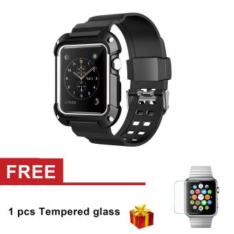 Silicone Resilient Protective Case with Strap for Apple Watch Series 3 Series 2 Series 1 42mm