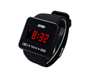 SKMEI Layar Sentuh Digital memimpin Jam tangan kasual (Hitam) - International