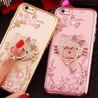 Softcase Flower Ring Stand Swarovsky Oppo A39