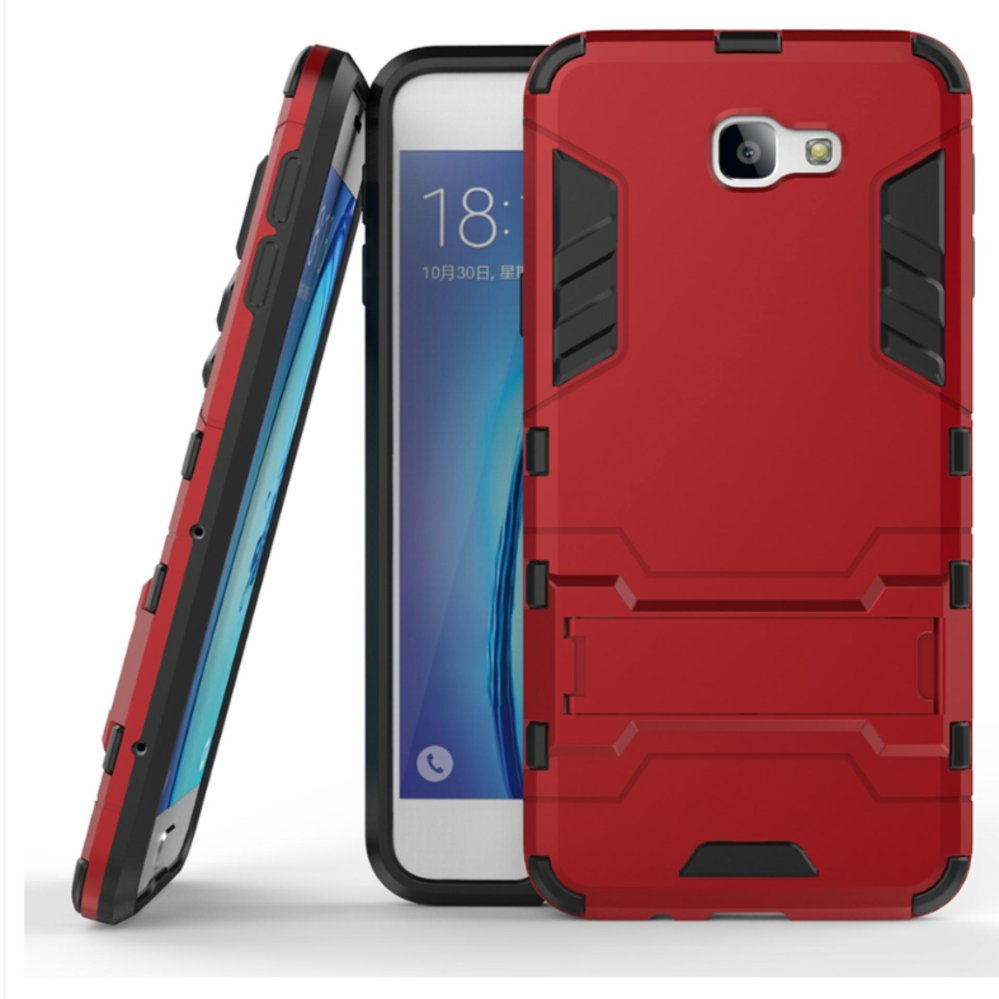 Flash Sale Softcase + Hardcase Slim Armor Iron Man with Kick Stand For SamsungGalaxy J5 Prime - Merah