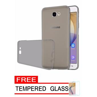 Softcase Silicon Ultrathin for Samsung Galaxy J5 Prime - Hitam Clear + Free Tempered Glass