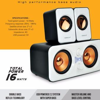 SONICGEAR Morro 2200 2.2 Multimedia Speaker - White - 4 .