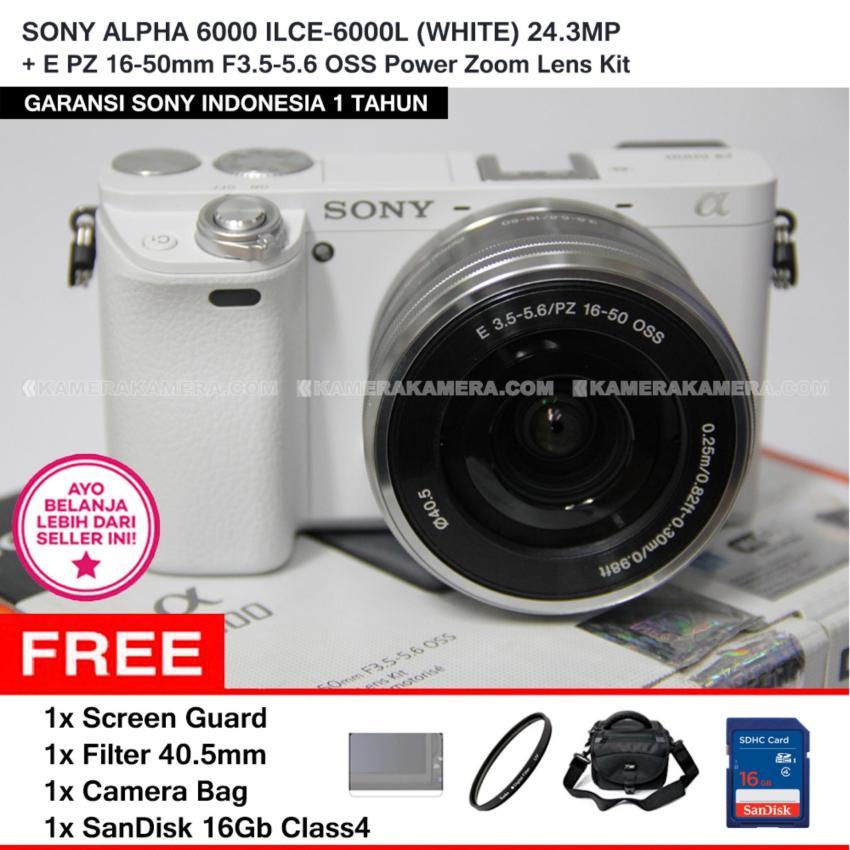 SONY ALPHA 6000 ILCE-6000L (WHITE) 24.3MP + E PZ 16-50mm F3.5-5.6 OSS Power Zoom Lens Kit + Screen Guard + SANDISK 16Gb + Filter 40.5mm + Camera Bag