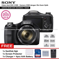 SONY Cyber-shot DSC-H300 Digital Camera H300 (Resmi Sony) 20.1MP 35x Zoom + SanDisk 8gb + Screen Protector + Charger + 4pcs AA Battery