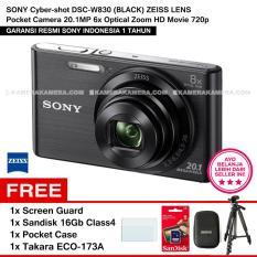 SONY Cyber-shot DSC-W830 (BLACK) ZEISS Lens Pocket Camera 20.1MP 8x Optical Zoom HD Movie 720p + Screen Guard + Sandisk 16Gb + Pocket Case + Takara ECO-173A