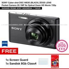 SONY Cyber-shot DSC-W830 (BLACK) ZEISS Lens Pocket Camera 20.1MP 8x Optical Zoom HD Movie 720p + Screen Guard + Sandisk 8Gb