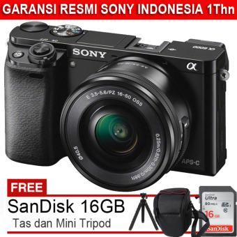 Sony ILCE Alpha A6000 + Lensa 16-50mm - 24.3MP + Gratis SanDisk Ultra 16GB + Tas + MiniTripod