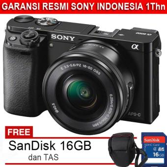 Sony ILCE Alpha A6000 + Lensa 16-50mm - 24.3MP + Gratis SDHC 16GB dan Tas