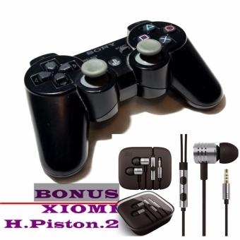 Sony PlayStation 3 Dualshock 3 Wireless Controller Stik + FREE Sony Cable Charger Stik PS3 +xiomi handsfree piston 2