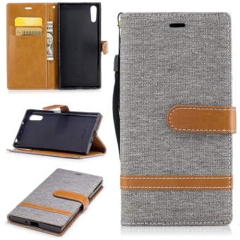 Harga Sony Xperia XZ / XZs Case, Premium Jeans Style Denim and PU LeatherFlip Magnet Wallet Stand Card Slots Protective Case Cover with HandStrap for Sony Xperia XZ / XZs (Black) - intl