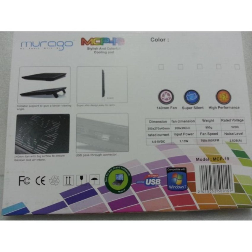SP NOTEBOOK COOLER MURAGO MCP19 Color Cooling Pad M19 MCP 19 .