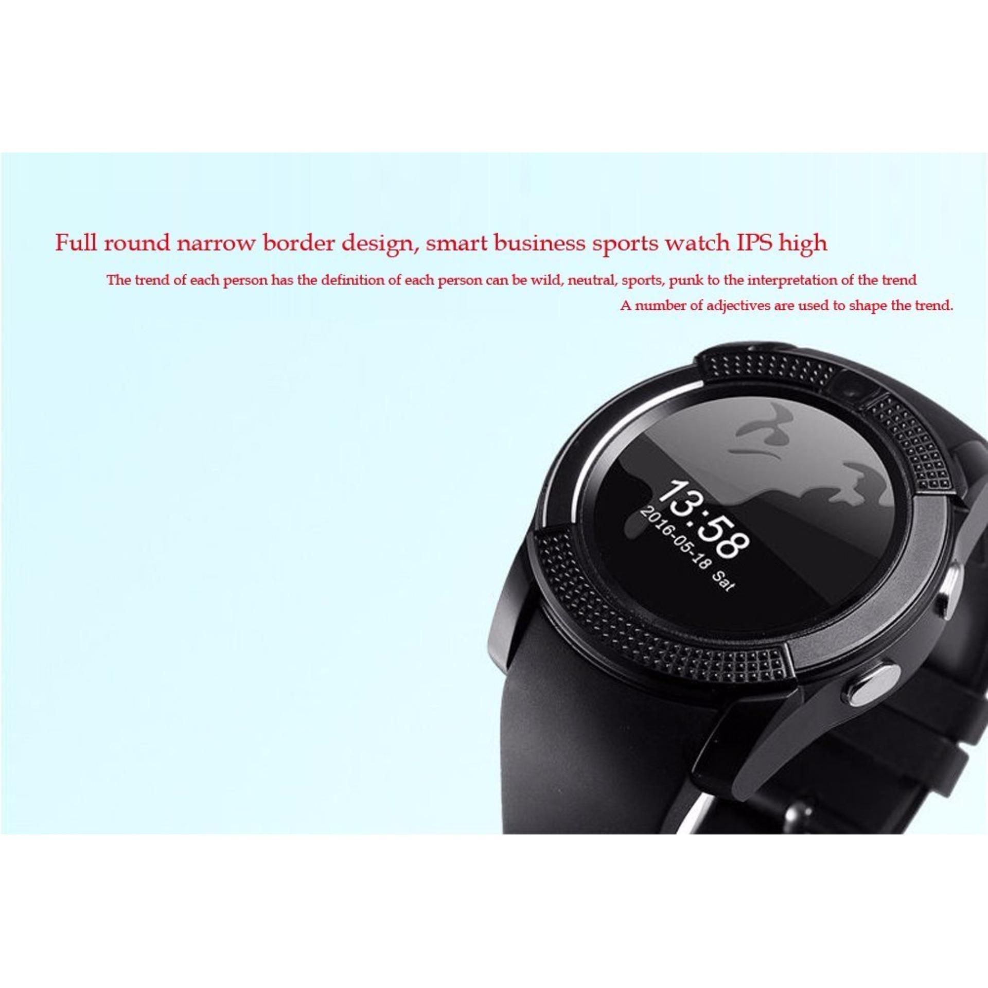Sport Watch Layar Penuh Smart Watch V8 Untuk Android Pertandingan Smartphone Penopang Tf .