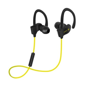 Sports In-Ear Wireless Bluetooth Earphone Stereo Earbuds Headset Bass Earphones with Mic for iPhone 6 Samsung Phone(Yellow) - intl