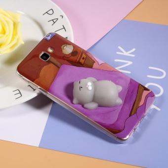 Squishy 3D Lembut Silicone Cat Berbaring Di Tempat Tidur TPU Shell Case untuk Samsung Galaxy J7