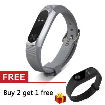 Harga Stainless Steel Protective Case Holder and Silicone Band Strap forXiaomi Mi Band 2 - intl