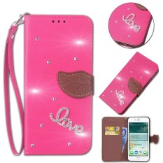 Stand Shell Protective Bumper Cover Filp PU Leather leaf Pattern Bling Phone Case For Microsoft Lumia 640 LTE - intl