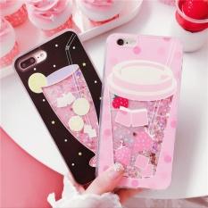 Summer Drink Dynamic Liquid Quicksand Glitter Sequins Phone CasesFor iPhone 6 6s Cute Soft Edge Back