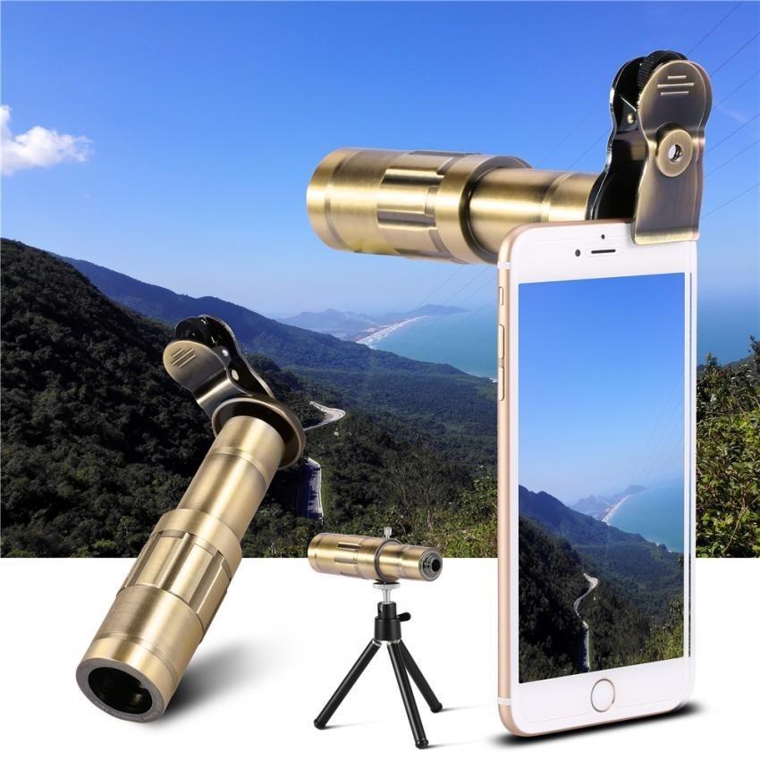 Sweatbuy Universal Cellphone Kit Lensa Kamera Telephoto Lens 20X Optical Zoom Telescope W/Tripod Perunggu-Internasional