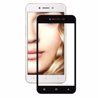 Tempered Glass For Oppo A37 Full Screen Black Screen Anti GoresKaca / Screen Guard / Screen Protection / Temper Glass / PelindungLayar Kaca Oppo A37 / Depan Only / Full Cover Layar - Black / Hitam
