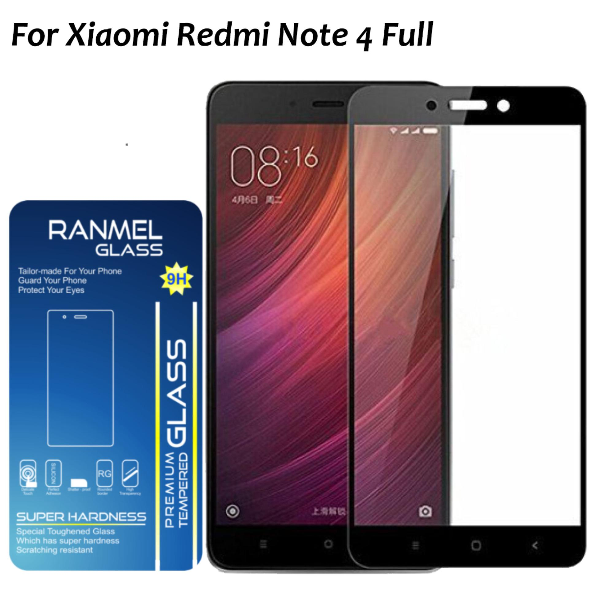 Tempered Glass Ranmel For Xiaomi Redmi Note 4 Full Anti Gores Hitam