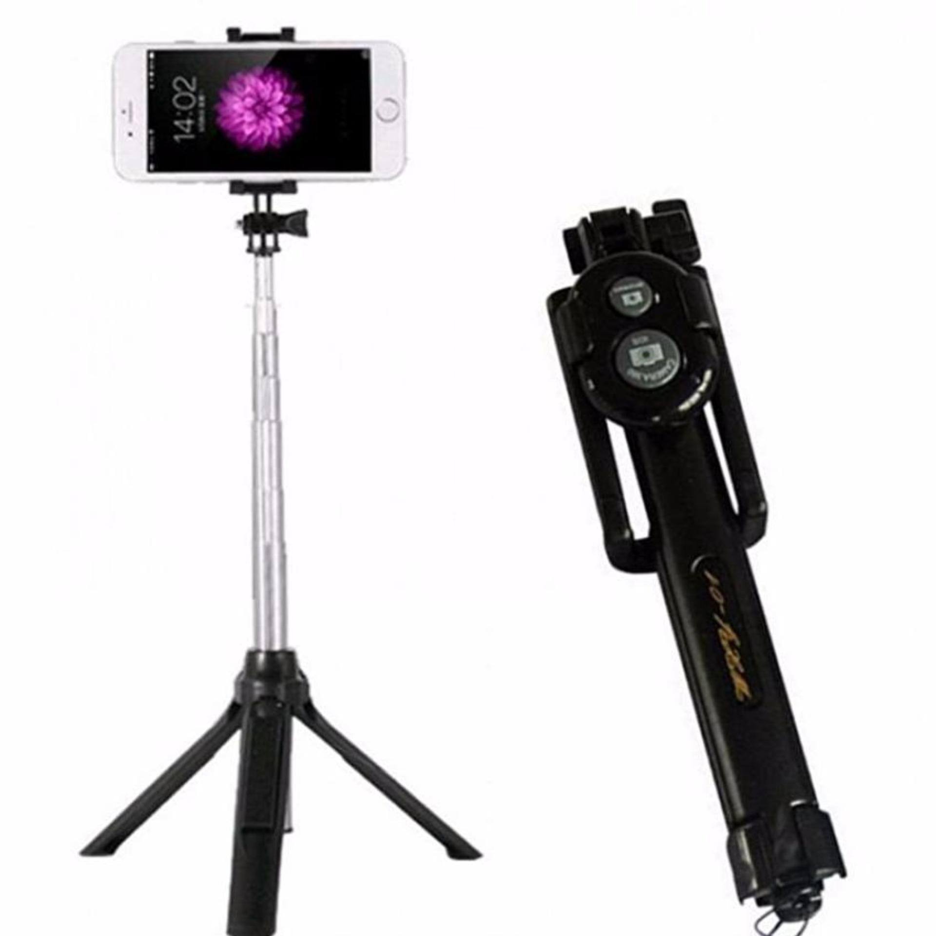 Tongsis 3 in 1 Bluetooth, Tripod, Selfie Stick -Hitam-