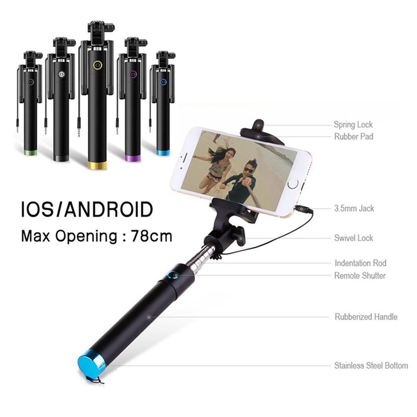 Tongsis Monopod Kabel/ Selfie Stick - Hijau + Gratis 5 SiliconeBumper Case .