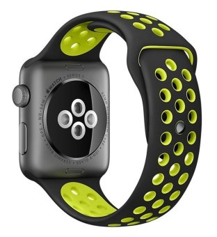 top4cus Original 1:1 Series 2 Silicone Sand for Apple Nike+ iwatch Replacement Soft Sport Band for Apple Watch iwatch--Black/Volt - Small/Medium - 42MM