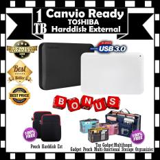 Toshiba Canvio Ready 1TB - HDD / HD / Hardisk Eksternal - GRATIS Pouch Harddisknya & Gadget Pouch Multi-functional Storage Orgranizier / Tas Gadget Multifungsi