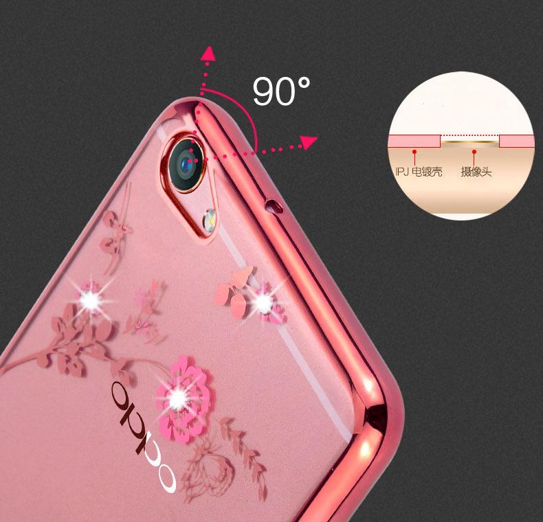 TPU silikon Gel lembut berlian kristal berwarna merah muda bunga bagian belakang untuk .