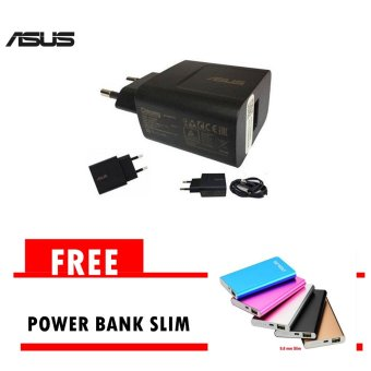 Travel Charger Asus Nonpack Fast Charging - Hitam+ Gratis Powerbank Asus Slim 5800mAh