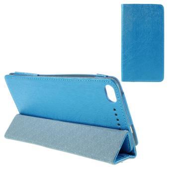 Tri-fold kulit dudukan Cover untuk Lenovo PHAB Plus PB1-770 N 6.8-inci baris tekstur - biru