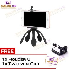 Twelven Tripod Gecko / Tripod Gekko Fleksibel Included Holder U - Free Twelven Gift - Hitam