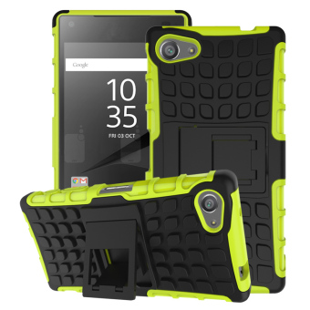 Two Pieces Anti-slip PC + TPU Hybrid Case for Sony Xperia Z5 Compact (Green/Black)