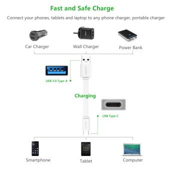 UGREEN 1.5 m USB 3.0 untuk USB Type C Cepat pengisian dan sync .