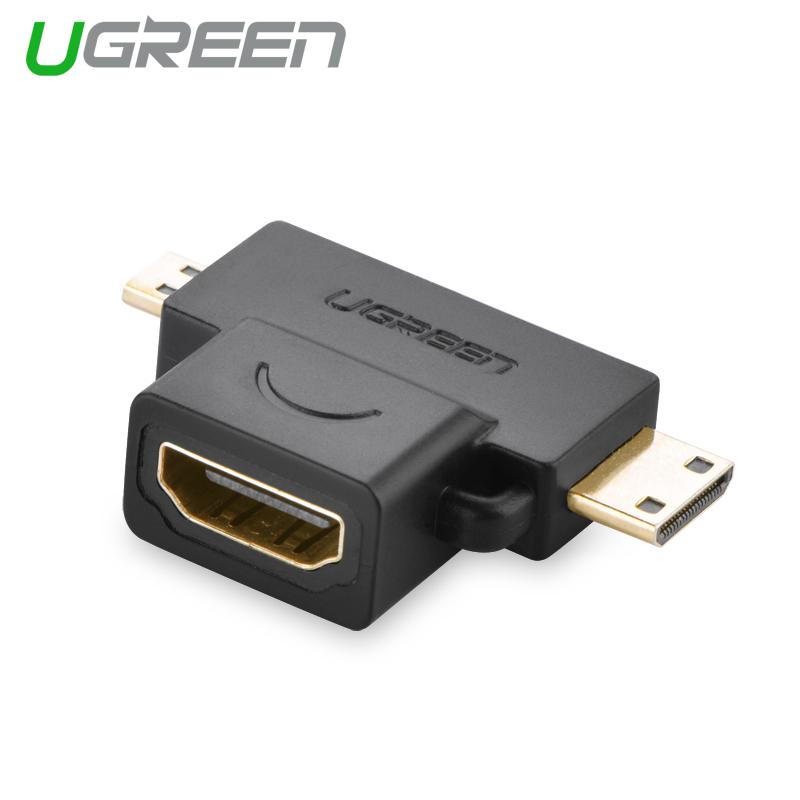 ... UGREEN 2-in-1 Mini HDMI dan micro HDMI Male untuk HDMI adaptor perempuan ...