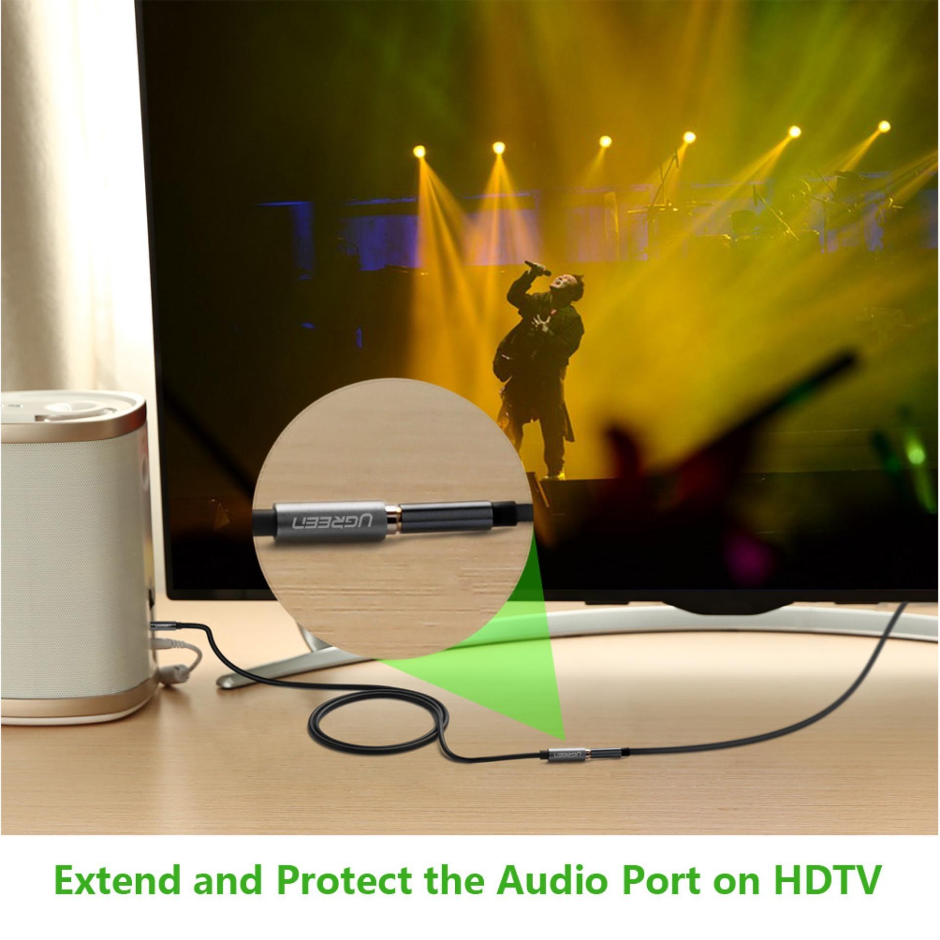 ... UGREEN 3,5 mm Stereo Audio Jack kabel ekstensi dengan Case aluminium (2 m ...